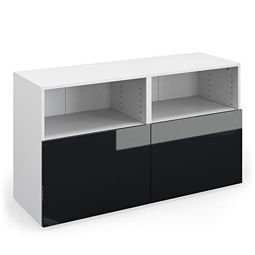 Vicco Sideboard Compo Highboard Anrichte Kommode Mehrzweckschrank (weiß/anthrazit Hochglanz)