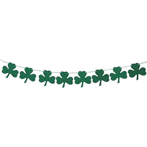Moent Bandera de trébol de la suerte del día de San Patricio, feriado irlandés, tréboles de flores, banderas no tejidas, suministros de decoración de fiestas de festivales (A)