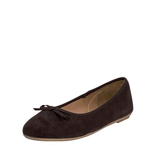Fitters Footwear That Fits Damen Ballerina Helen Microfibre modische Basic Ballerinas mit Schleife Übergröße (44 EU, schwarz)