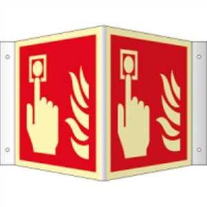 Winkelschild Brandmelder HIGHLIGHT langnachl. gemäß ASR A1.3/ DIN 7010, Leuchtdichte: 52 mcd/m², PVC 14,8 x 14,8 cm mit 4 Bohrungen (Branschutzschild, Feuermelder) praxisbewährt, wetterfest