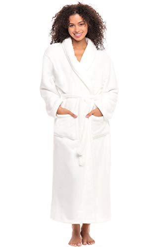 Alexander Del Rossa Women's Plush Fleece Robe, Warm Bathrobe, 3X 4X White (A0117WHT4X)