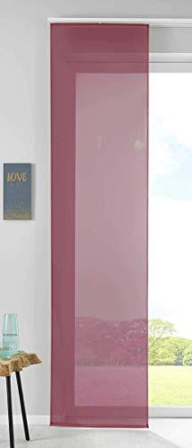 1er Set Schiebegardine Flächenvorhang Vorhang Gardine Voile HxB 245x60 cm Bordeaux Komplett mit Paneelwagen Beschwerungsstange, 85589N