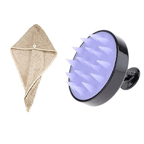 MERIGLARE Toalla de Microfibra para El Cabello para Mujer + Champú Cepillo Exfoliante Cuidado del Cuero Cabelludo