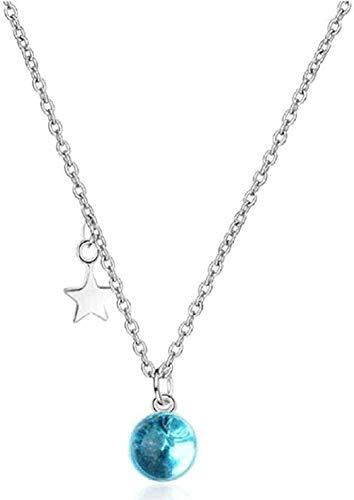 ZJJLWL Co.,ltd Collar Hermosa Mujer Exquisita Joyería Estrellas y Azul Esférico Cristal Clavícula Cadena Colgante Collar