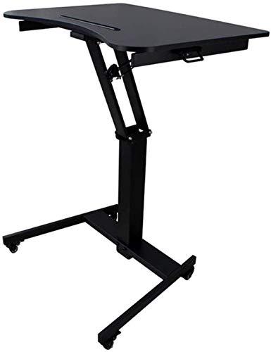 JCCOZ -URG - Escritorio portátil de pie con soporte ajustable y soporte para presentaciones con ruedas, color negro