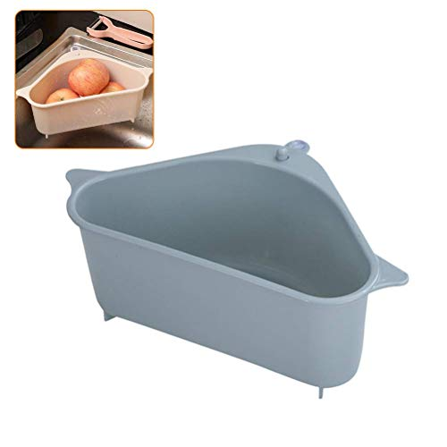 Soulitem Triangular Drain Shelf Storage Rack Ventosa per Cucina Bagno Supporto Angolo Mensola Portasapone Beige