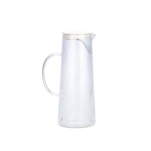 Jarra de Agua Cristal Placa de vidrio de patrón vertical con compción de té de acero inoxidable desmontable Café de vidrio con asa para evitar las manos calientes Jarras de Vidrio ( Color : D )