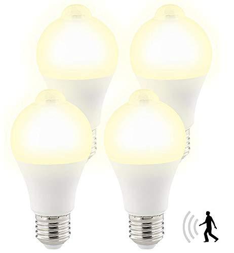 Luminea Ledlampe: 4er-Set LED-Lampen, PIR-Sensor, 12 W, E27, warmweiß, 3000 K, 1.055 lm (LED Glühbirne mit Bewegungsmelder)