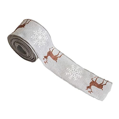 Nastro natalizio classico in tessuto natalizio fai da te, albero di Natale, fiocchi di neve e alci per ghirlande, decorazioni fai da te, decorazioni floreali, confezioni regalo
