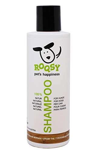 ROQSY Natur Hundeshampoo vegan Naturshampoo für Hunde Aller Rassen, Größen und Fellfarben; gegen Geruch und Juckreiz, für weisses Fell, Naturprodukt, auch für Welpen, Sensible Haut, Allergien; 200ml