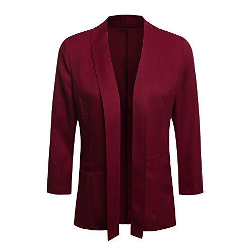 iHENGH Damen Herbst Winter Bequem Lässig Mode Frauen Mini Anzug Lässige 3/4 Ärmel Offene Front Work Office Blazer Jacke Strickjacke(L,Rot)