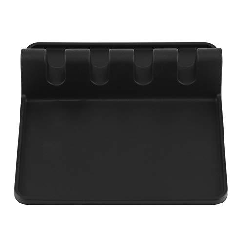 Soporte de silicona para utensilios, herramienta de cocina de silicona, resistente al calor, saludable, fácil de limpiar, soporte de silicona para utensilios, para el hogar,(black)