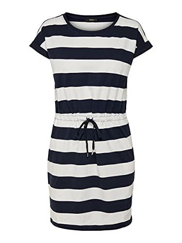 Only Onlamber SS Fold Up Dress Noos Vestido, Multicolor (Cloud Dancer Stripes:Night Sky), 40 (Talla del Fabricante: Medium) para Mujer