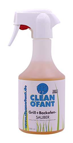 CLEANOFANT Grill- + Backofen-SAUBER 500 ml - Grillreiniger + Backofenreiniger entfernt stärkste Verschmutzungen durch Fett, Öl, Ölkohle, Bratenkrusten von Grill, Backofen, Dunstabzugshaube