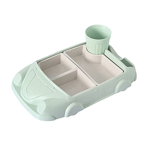 Ashley GAO Creative Cartoon Car Plate Baby Platos Set Bambú Fibra Plata+Copa Sub-Grid Bowl Regalo Niños Vajilla Set