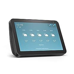 """Alexa peut vous en montrer plus : grâce à un écran HD de 8"""" et un son stéréo, Alexa peut vous aider à gérer votre journée en un coup d'œil. Restez en contact grâce aux appels vidéo et messages : appelez votre famille et vos amis qui possèdent l'appli..."""