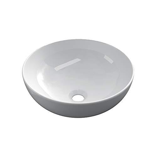 STARBATH PLUS Lavabo Da Appoggio Ceramica Soprapiano Lavandino Bagno Rotondo BOL (32 x 32 x 15 cm)
