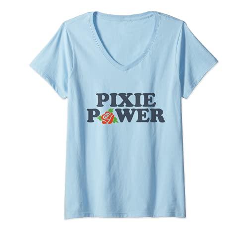 Mujer Pixie Power | Corte Pixie | Corte de pelo Pixie Camiseta Cuello V