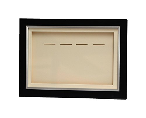 Picture Framing Direct Black and silver 3d Deep Box Frame To Display War/Military/Sports Medals (Ivory Mount, Four Medals)