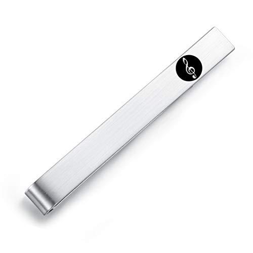 HONEY BEAR nota musical Clave de sol Clip Pasador de Corbata - Talla Normal para Hombre Necktie, Acero Inoxidable,Boda Negocio Regalo,5.4cm,Plata cepillada