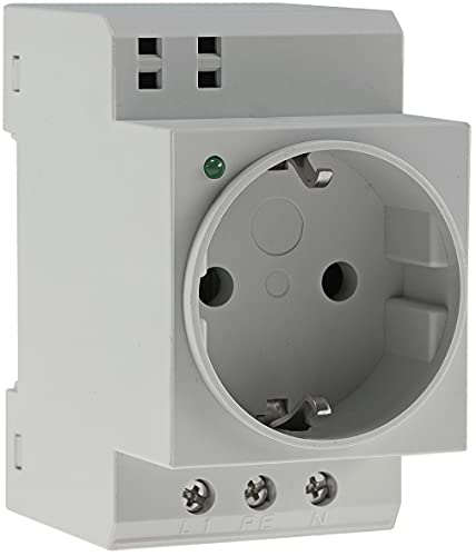 Einbau Steckdose mit LED für Hutschiene Schaltschrank 230V/16A VDE Schutzkontakt-Steckdose für Verteilerschrank Sicherungskasten