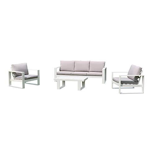 Salotto Nairobi divano, poltrone e tavolo, bianco Bianco