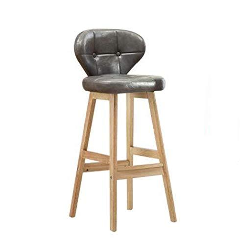 Dining Room Side Chair Retro Iron Bar Chair Barkruk, Planken Hoge Kruk Restaurant Huishoudelijke Creative eetkamerstoel Casual Study rugleuning Chair, Grijs PU leren kussen Barkruk (Color : A)
