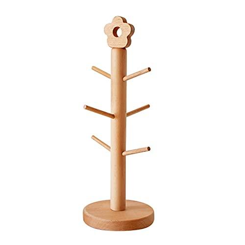 Soporte de madera para tazas, soporte para tazas con decoración de flores, 1/3 niveles de auto-ensamblaje para encimera de té organizador de vidrio para el hogar y la cocina