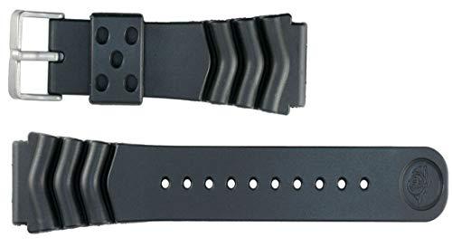 Seiko - Correa de reloj de pulsera de caucho sintético de 22 mm, resistente al agua, color negro
