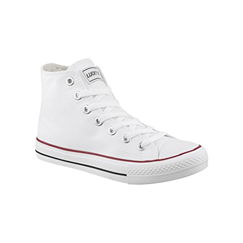 Elara Unisex Kult Sneaker | Bequeme Sportschuhe für Damen und Herren | High Top Textil Schuhe|Chunkyrayan Farbe, Weiß, 44 EU