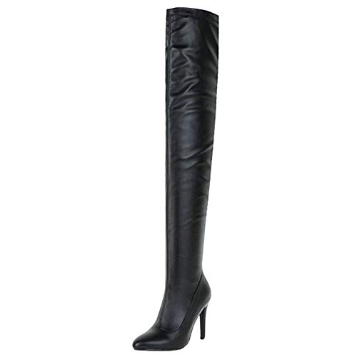 Smilice Damen über Kniehohe Stiefel mit Stiletto Absatz (Schwarz, 46 EU)