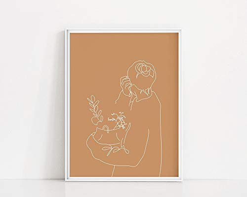 Del arte de la cesta del eucalipto|Mujer de dibujo lineal de arte lineal|Estampado de suter de gran tamao|Cuadro Decorativo Mujer y Cesta de Flores Familia Sin Marco A55 70x100cm