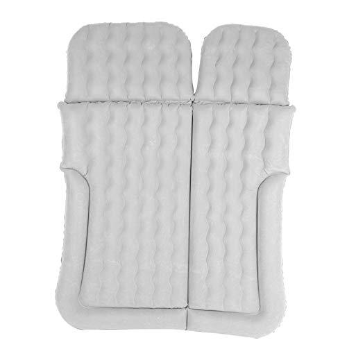 Colchón hinchable para coche, multifuncional, con 2 almohadas y bomba de aire, colchón hinchable para asiento trasero de coche, cojín de descanso, asiento hinchable, coche, PVC flocado (gris)