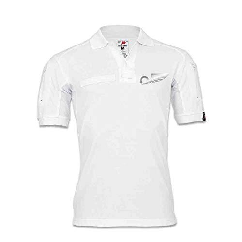 Tactical Polo Flügelrad geflügelt Rad Heraldik gemeine Figur T-Shirt #32124, Größe:4XL, Farbe:Weiß
