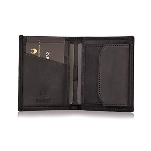 DONBOLSO® Rom I Mini Geldbörse mit RFID-Schutz I Slim Wallet mit Münzfach I echtes Leder I Geldbeutel in Schwarz Vintage