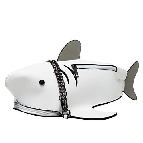 MILATA Haifisch geformte Umhängetasche Damen PU Leder Chic Schultertasche Rucksack für Mädchen, Weiá (weiß), Small