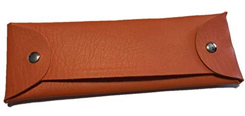Etui van kunstleer (oranje) pennenetui voor school, stiftenpenal, opslag, zonnebril, leesbril, make-uptas, kunstleer, medische benodigdheden
