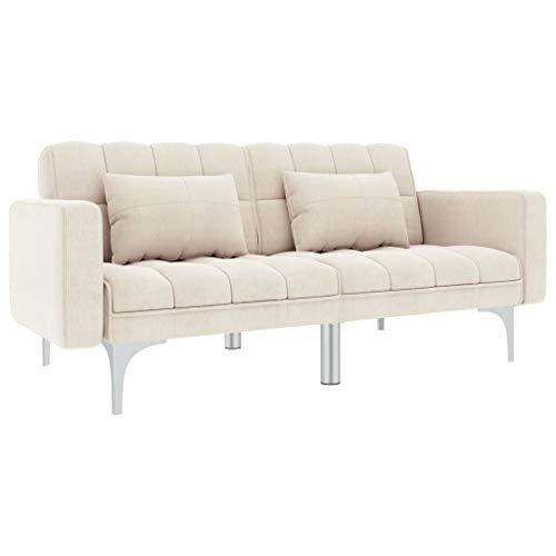 UnfadeMemory Schlafsofa Stoff Schlafcouch Bettsofa 2-Sitzer Couch mit 2 Kissen Stoffbezug + Metallbeine Sofa mit Schlaffunktion 175,5 x 84 x 79,5 cm (Creme)