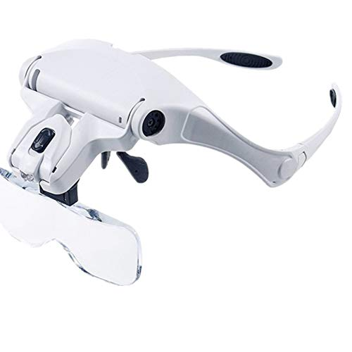 Head Magnifier Glasses, Illuminated Head Mount Magnifying Glass with LED Light Professional Headband Magnifier for Close Work Reading Jewelers Crafts Watch Circuit Repair Hobby (1X 1.5X 2X 2.5X 3.5X)