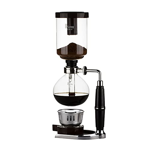 Siphon-Kaffeemaschine, Tabletop-Siphon-Kaffeebrauer Kessel-Topf mit Silikon-Griff Alkoholbrenner, für Home Office 3 Personen