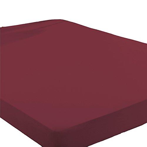 Primera Sempre Satin Spannbettlaken 100% Baumwolle (Bordeaux, 150 x 200 cm)