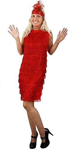 ILOVEFANCYDRESS Robe Rouge Adulte Charleston à Franges sur Le Devant Uniquement Style années 20 avec Son Bandeau à Plume et à Paillettes. Ideal pour Les enterrements de Vie de Jeune Fille.
