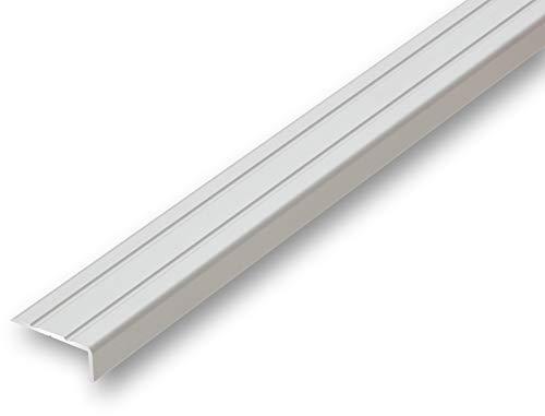 Treppenwinkel 10 x 25 1000 mm silber selbstklebend Treppen-Kantenprofil Stufen-Profil Alu-Winkel-Profil Kantenschutzwinkel Profilwinkel Treppe (1000 mm selbstklebend, silber)