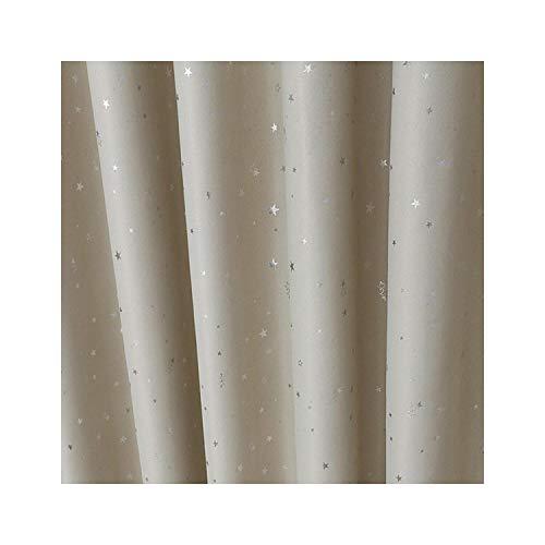 Brillante Estrella de Plata ventana Blackout cortinas para el dormitorio de los cabrito Ventana gasa de Tulle cortinas para la sala de estar Decoración, Color 3, W300cmXL250cm, ganchos Top