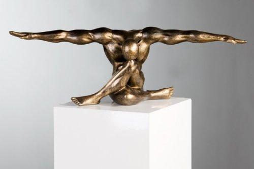 Casablanca 59794 Figur - Skulptur - Dekofigur - Cliffhanger - Sportler sitzend - Polyresin - Farbe : Bronze 61 x 20 cm