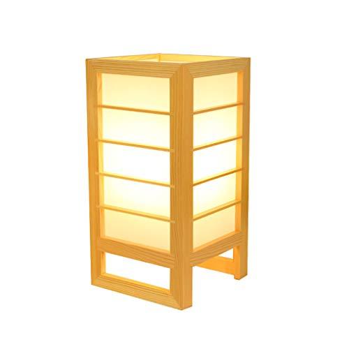 Lámpara de mesa LED de estilo japonés, moderna Bed Head de madera maciza hecha a mano simple dormitorio lectura arte moda ecológica decoración E27 (color de madera) HUACANG ⭐