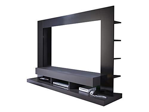 Newfurn Wohnwand Anbauwand Modern Wohnzimmerschrank Wohnlandschaft Mediawand Fernsehschrank II 170x124x 46 cm (BxHxT) II [Halvar.Two] in Grau/Schwarz Hochglanz Wohnzimmer