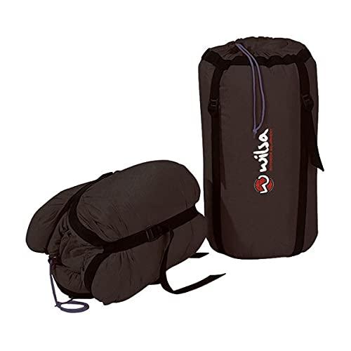 Wilsa – Funda para saco de dormir – Camping – Senderismo – Accesorios – Bolsa de compresión – Negro