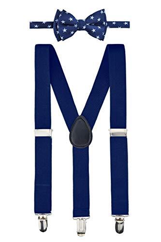 Retreez - Pajarita para niño con diseño de estrellas tejidas y pajarita preatada,  Corbata de lazo azul marino con estrellas azules claras y colgante azul...