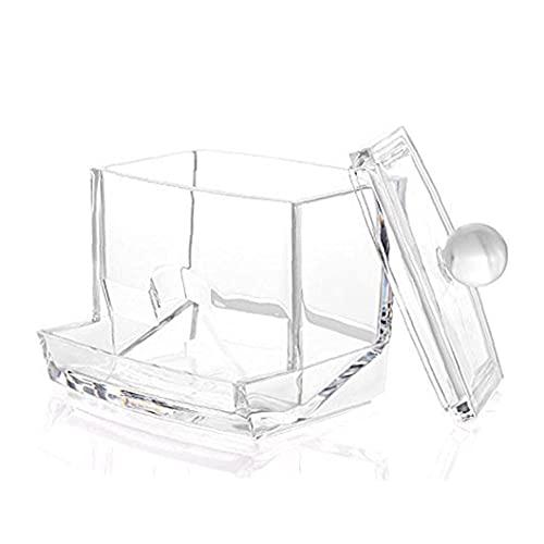 DierCosy Tools Porta bastoncini di cotone in acrilico trasparente, dischetti per il trucco Contenitori per dispenser singoli Vasi Vaso quadrato da bagno Organizzatore di stoccaggio in plastica traspa